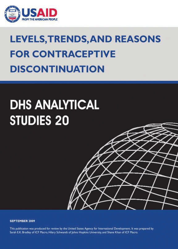 Cover of Levels, Trends, and Reasons for Contraceptive Discontinuation (English)