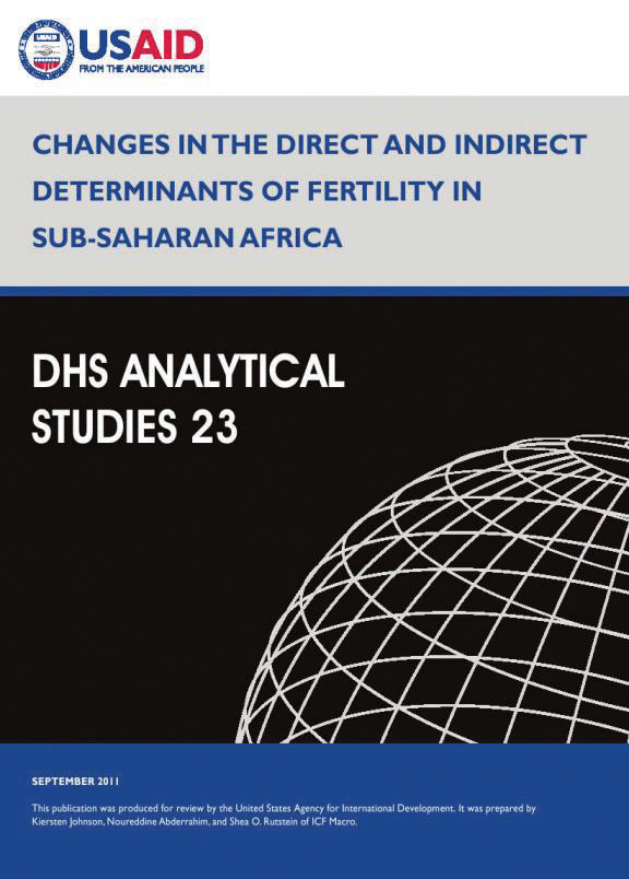Cover of Changes in the Direct and Indirect Determinants of Fertility in Sub-Saharan Africa (English)