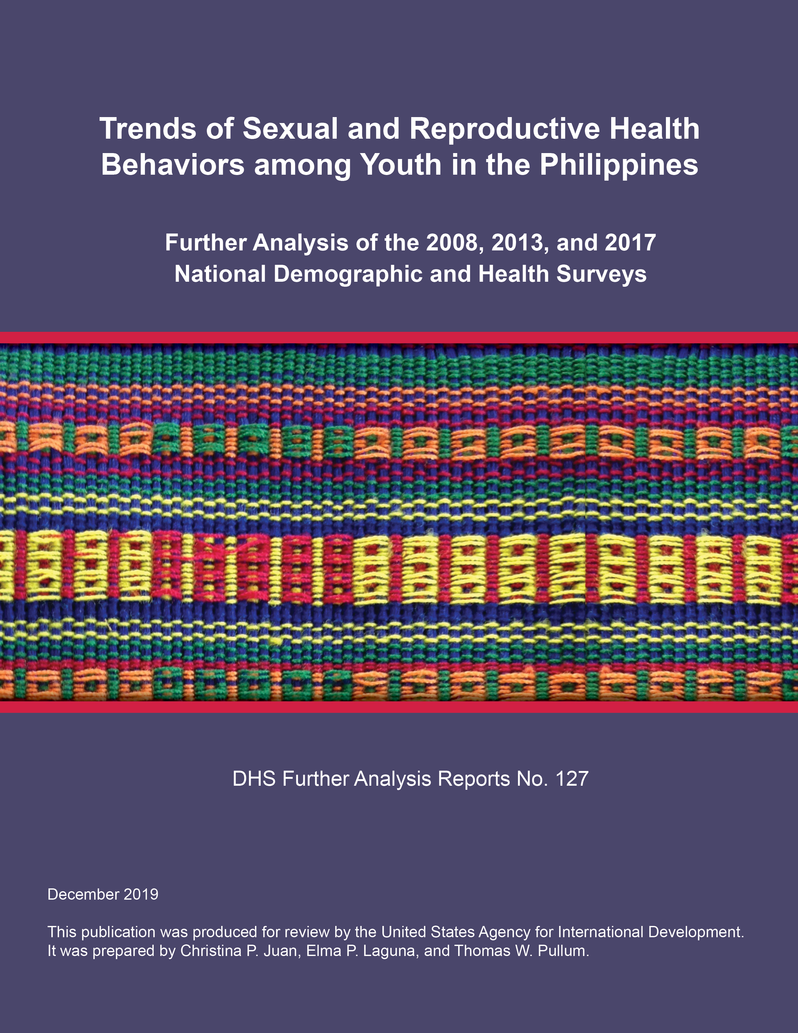 Cover of Trends of Sexual and Reproductive Health Behaviors among Youth in the Philippines (English)