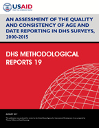Cover of An Assessment of the Quality and Consistency of Age and Date Reporting in DHS Surveys, 2000-2015 (English)