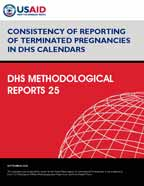 Cover of Consistency of Reporting of Terminated Pregnancies in DHS Calendars (English)