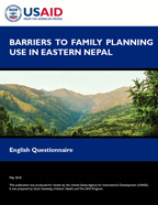 Cover of Barriers to Family Planning Use in Eastern Nepal - English Questionnaire (English)