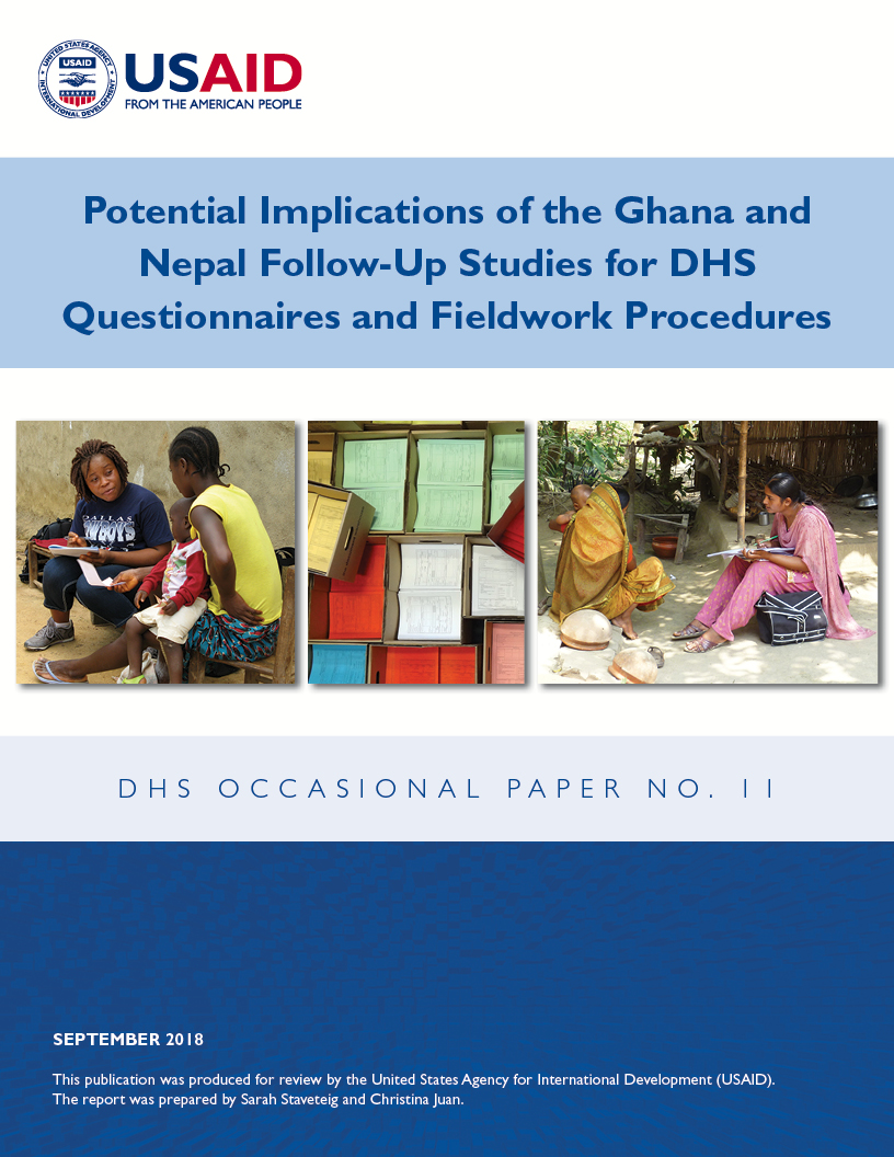 Cover of Potential Implications of the Ghana and Nepal Follow-Up Studies for DHS Questionnaires and Fieldwork Procedures (English)