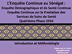 Cover of Senegal: DHS, SPA, 2016 - Survey Presentations (French)