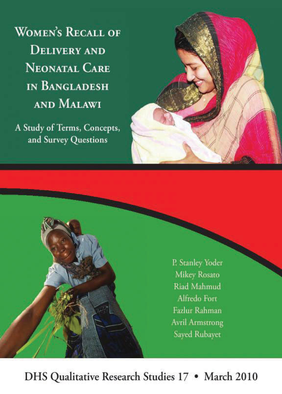 Cover of Women's Recall of Delivery and Neonatal Care in Bangladesh and Malawi (English)