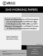 Cover of Trends and Determinants of Contraceptive Use among Young Married Women (Age 15-24) Based on the 2000, 2005, and 2011 Ethiopian Demographic and Health Surveys: A Multivariate Decomposition Analysis (English)