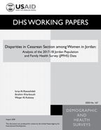 Cover of Disparities in Cesarean Section among Women in Jordan: Analysis of the 2017-18 Jordan Population and Family Health Survey (JPFHS) Data (English)