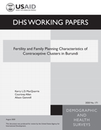 Cover of Fertility and Family Planning Characteristics of Contraceptive Clusters in Burundi (English)