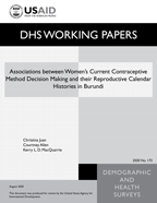 Cover of Associations between Women's Current Contraceptive Method Decision Making and their Reproductive Calendar Histories in Burundi (English)