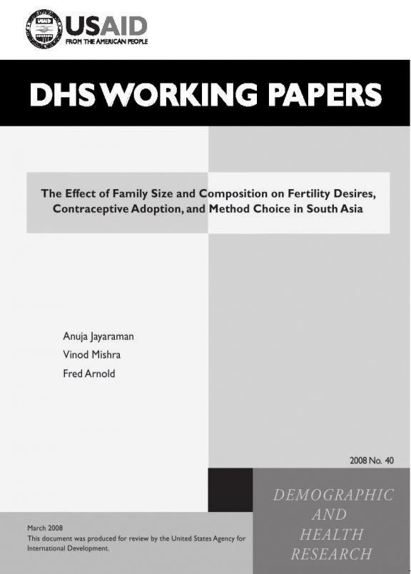 Cover of The Effect of Family Size and Composition on Fertility Desires, Contraceptive Adoption, and Method Choice in South Asia (English)