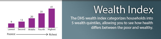 The DHS wealth index categorizes households into 5 wealth quintiles, allowing you to see how health differs between the poor and wealthy. (Photo credit: ICF Macro)